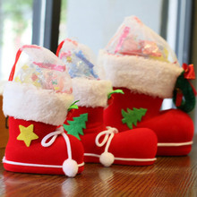 High Quality Shaped Christmas Decorations Flocking Boots Socks Creative Gift Box Of Candy Decorating Supplies(China)