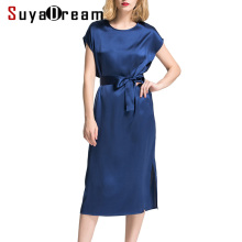 Buy Women Silk dress Solid Casual dresses 19MM MULBERRY SILK Satin Belted Mid-calf length Classic simple dress 2018 Summer Navy ) for $45.90 in AliExpress store