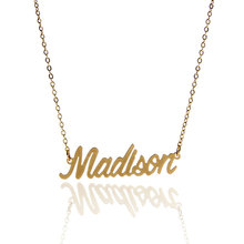 "AOLOSHOW Name Necklace "" Madison "" Gold color Cursive Nameplate Necklace Women Stainless Steel Dainty Name Necklace ,NL-2379"