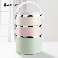 WORTHBUY Container For Food Storage Thermal Lunch Boxs Stainless Steel Japanese Bento Box Portable Picnic With Tableware Set Bag(China)