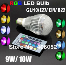 2pcs/lot e27 gu10 RGB LED BULB 9w 10w AC 85-265V led Bulb Lamp with Remote Control multiple colour spotlight led lighting