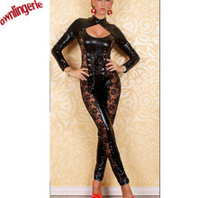 Buy 2014 Free Shipping Black Leather Lingerie Sexy Body Suits Women PVC Erotic Leotard Costumes Latex Bodysuit
