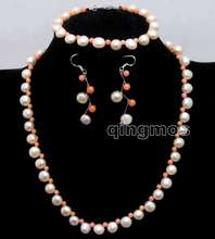 Small 7-8mm Pink Flat Round side drilled Natural FW pearl and 3-4mm Pink Coral Necklace set-nec6400
