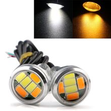 CYAN SOIL BAY 1Pair 12V DC 23MM 5730 6 LED Eagle Eye Daytime Running Dual Color DRL Light White Amber Yellow