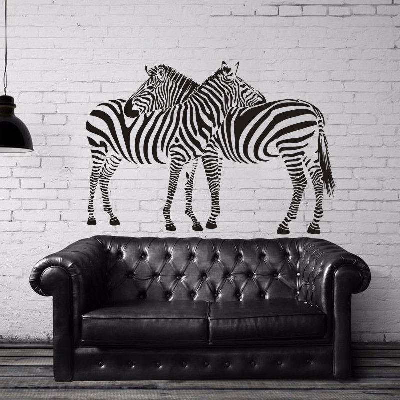 DCTAL Zebra Wall Sticker Zebre Decal Cebra Posters Vinyl Wall Art Decals Pegatina Decal Decor Mural Wild Animal Sticker