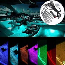 2 Styles For Choose Wireless Remote/Music/Voice Control Car RGB LED Neon Interior Light Lamp Strip Decorative Atmosphere Lights