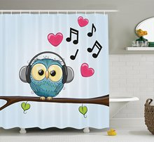 Music Decor Collection, Cute Cartoon Owl with Headphones Hearts Leaves Fashion Playful Jolly Fun Image(China)