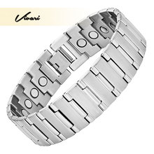 Vivari 2017 Magnetic Men Bracelet Wrist Silver Large Size Stainless Steel Bio Magnet Accessories Bangle Wristband Charm(China)