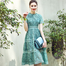 European Fashion Summer Dress Women 2017 Brand Designer New Runway Dresses Ladies Elegant Short Sleeve Hollow Green Lace Dresses(China)