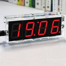 Factory Wholesale Free Shipping DIY 4 Digit LED Electronic Clock Kit Temperature Light Control Version(China)