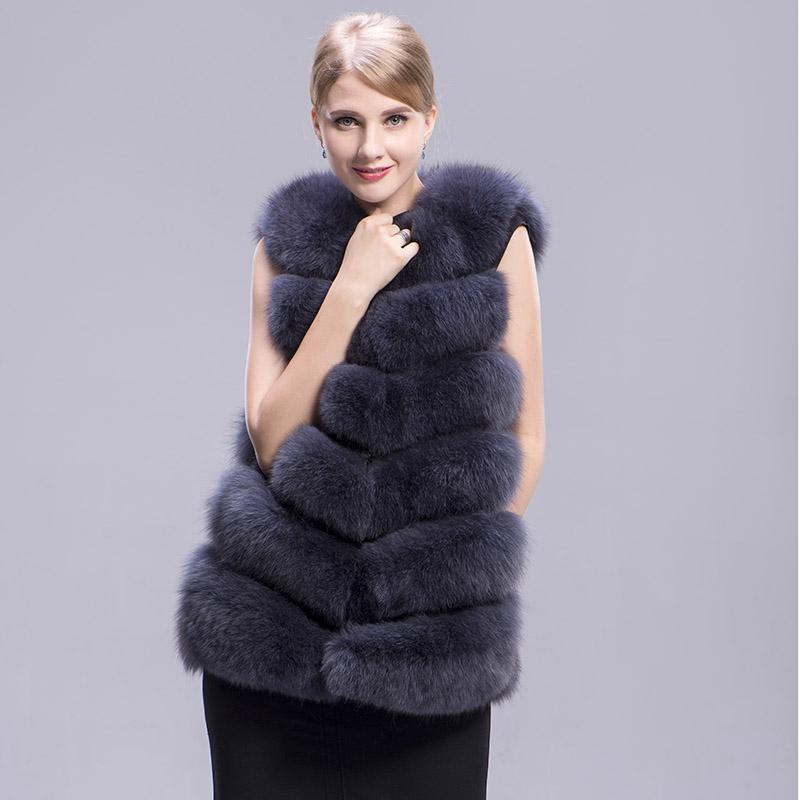 fox fur vest 6 lines dark grey 2