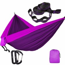 Solid Color Nylon Parachute Hammock Camping Survival garden swing Leisure travel Double Person Portable outdoor furniture(China)