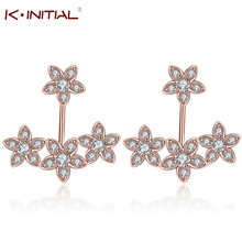 Kinitial 1Pair Rose Gold Cluster Cubic Zirconia Prong Set Front Back Star Stud Earrings/ Ear Jacket for Women Gift Jewelry(China)