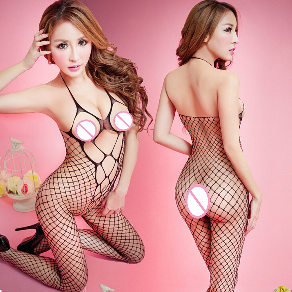 2017 HOT Sexy Lingerie Women Sexy Halter Fishnet Bodysuit Open Crotch Bodystocking Babydolls Chemises Crotchless Sexy Underwear(China)