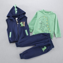Autumn spring  Casual boys babys kid's Little Dinosaur Hooded Cardigan Vest+long sleeve t-shirt+ pant 3pcs clothing set Y2498