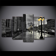 5 Pcs/Set Framed HD Printed Street View London Grey Canvas Art Modern Painting Poster Home Decorative Picture Feng Shui Art