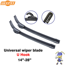 QEEPEI 14'' - 28''inch universal u hook u-type frameless wipers top quality silicone rubber blade soft car windshield windscreen(China)