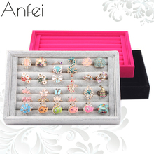 Velvet Ring Organizer Jewelry Display Shelf Rings Display Boxes Quality Rings Storage Case Caskets For Jewelry Show Case A02-3(China)