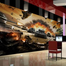 Free Shipping 3D War game theme mural living room Internet cafes TV background wall coffee house gaming room wallpaper mural