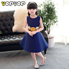 Girl new evening princess dress Chinese wind blue tutu dress summer for size 3 4 5 6 7 8 9 10 11 12 years child piano costume