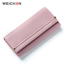 WEICHEN New Design Cell Phone Coin Pocket Money Purse Solid Hasp Long Women Wallet Ladies Card Photo Holder Wallets Lady Bag(China)
