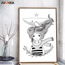 Nordic Black White The Whale Olive Girl Sketch Illustrations Canvas Art Print Painting Poster Wall Picture Decoration Home Decor