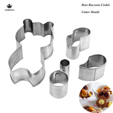 5Pcs/Set Cookie Mold Stainless Steel Cute Biscuit cutter DIY Bread Sandwich Bear Raccoon Cookie Cutter Fondant Cake Decorating(China)