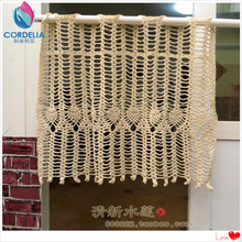2016 china new products 100% natural cotton crochet beige lace window curtain for home decoration with flowers cushion novelty