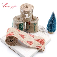 Buy 2M Christmas Burlap Jute Burlap DIY Rolls Hessian Ribbon Cartoon printing Rustic Vintage Wedding Party Decor Craft for $1.75 in AliExpress store