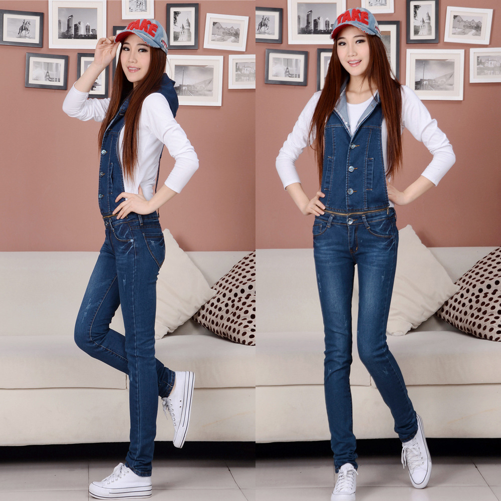 New Fashion Ladies jeans pants,Hooded Slim Girls denim overalls Plus size denim jeans Jumpsuit pants free shhipping D301Одежда и ак�е��уары<br><br><br>Aliexpress