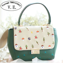 Vintage Embroidery Women Shoulder Bag Chains Mushrooms Floral Tree Prints Faux Leather PU Messenger Bags Crossbody Travel Totes(China)
