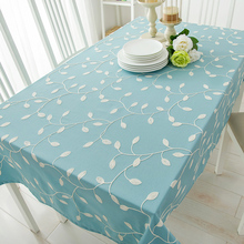60 - 250 x 60 - 250cm Table Cloth Cover Square Rectangle Linen Tablecloth Embroidered Leaves Blue Green White Customized(China)