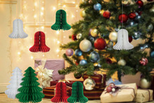 8pcs Match Set Christmas Ideas Decorations Christmas Trees,Bells Paper Honeycombs Decor Indoor Home Christmas Trees Ornaments
