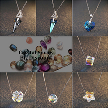 New Arrival Genuine 925 Silver Crystal series Pendant Necklace with Movable AAAAA Quality Rhodium Plated Necklaces