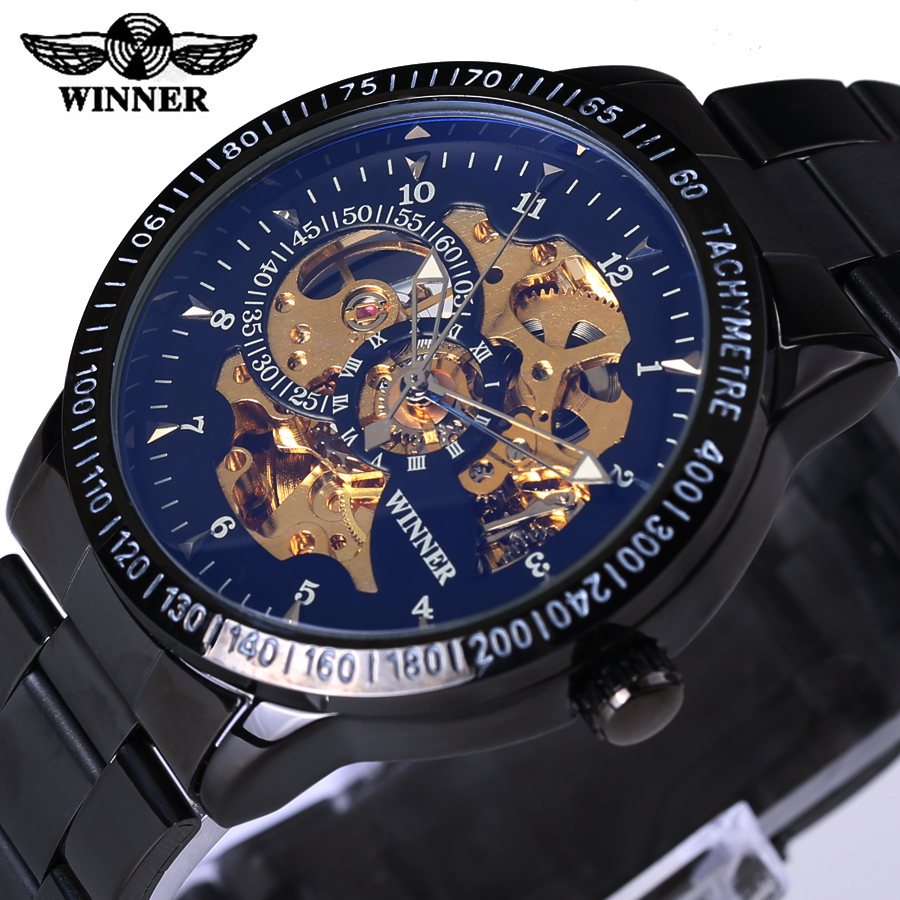 2017 Famous Brand Winner Luxury Fashion Vintage Steel Stainless Black Dial Men Mechanical Skeleton Watch For Men Wristwatch<br><br>Aliexpress
