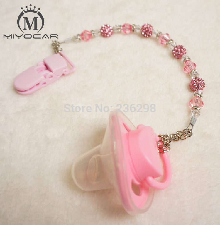 MIYOCAR Baby Stunning Princess pink Crystal Bling hand made /pacifier clips/soother chain holder Dummy clip/Teethers clip