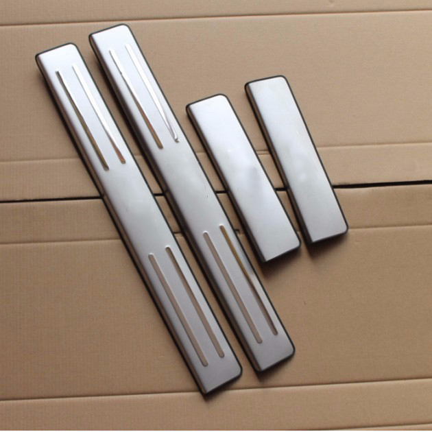 For KIA RIO 2010-2014 Stainless Steel Scuff Plate Door Sill Ultrathin Threshold Strip Welcome Pedal Car Styling Accessories 4pcs<br>