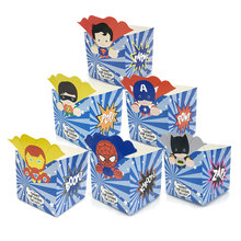 12pc/lot Small Superhero Avengers Superman Batman Candy Box Popcorn Box Favor Box Birthday Party Decorations kids Party supplies