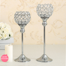 Crystal Table Lamp Metal Tealight Candle Holder Candelabra for Wedding Home Decoration Candlestick Set of 2