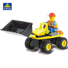 KAZI City Engineering Construction Series Forklift Tractor Shovel Car Building Blocks Bricks playmobil Toys For Children(China)