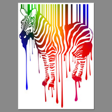 Modern Bling Colorful Rainbow Zebra Decoration Posters Wall Art Pictures Canvas Painting For Living Room Home Decor Unframed(China)