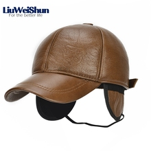 LiuWeiShun Factory Outlet Winter Genuine Leather Baseball Cap Men with earflap Keep Warm Older Men Dad's Hat Father's Bomber Cap(China)