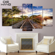 5 Piece Canvas Art Railway Sights Sunset Tree Canvas Painting Print And Poster Pictures Home Decor Wall Pictures For Bedroom