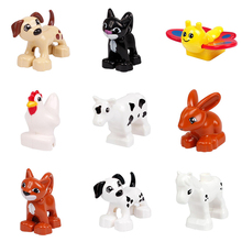 Cute Animal Forest Farm Ocean Models Duploe Figures Compatible with Toy DIY Building Creative Blocks Toys for Children(China)