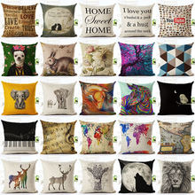 Nordic Christmas elephant Cotton Linen Quote Cheaper Cushion Cover decorative pillow case map music Throw Pillow Cover almofadas