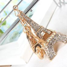 Buy Lovely Eiffel Tower Keyring Rhinestone Crystal Charm Pendant Puse Bag Car Key Chain Girl Friend Mother Daughter Gift for $2.91 in AliExpress store