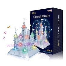 3D Music Flash Crystal Puzzle Jigsaw Model DIY Castle IQ Toy Town Decoration -B116