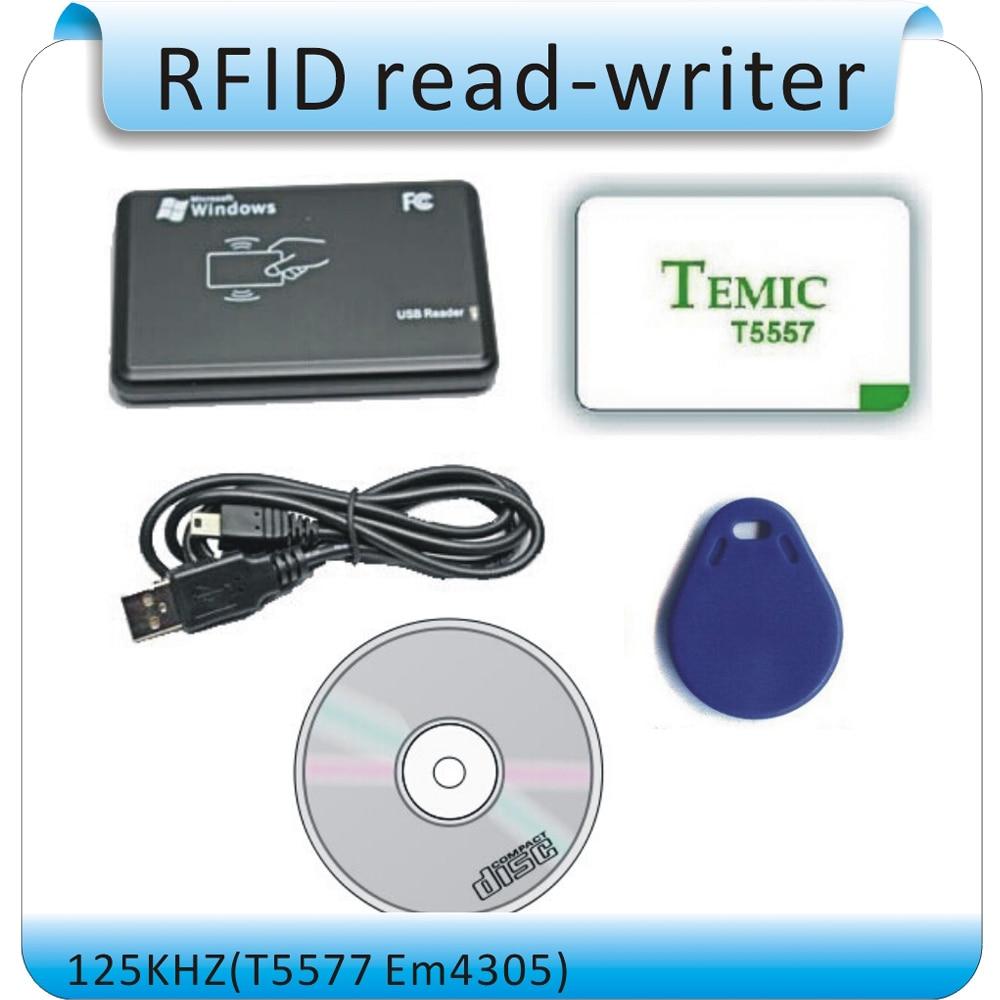 Free shipping 125Khz EM4100 RFID copier / writer / duplicator(T5557/T5577/EM4305) free 10pcs writable cards<br><br>Aliexpress