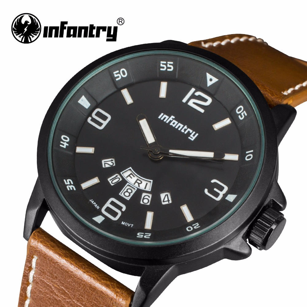 INFANTRY Mens Watch Fashion Brand 3D Face Mens Quartz Watch Waterproof Sport Military Watches Leather Strap Relojes Hombre 2017<br><br>Aliexpress