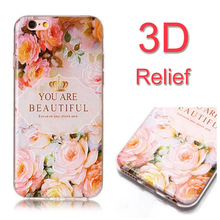 Buy High Soft TPU 3D Relief Painting Stereo Feeling Back Case Apple iPhone 7 Plus iPhone7 5.5'' Flower Cover Phone Bag for $2.98 in AliExpress store
